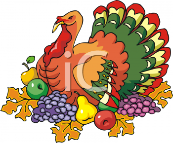 Thanksgiving Clipart Picture Of A Turkey With Fruit Around Him
