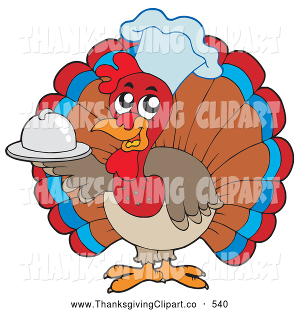 Vector Clip Art Of A Friendly Cute Turkey Bird Chef Holding A Small