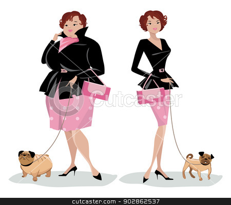Weight Loss Before And After Clipart Dog Stock Vector Clipart