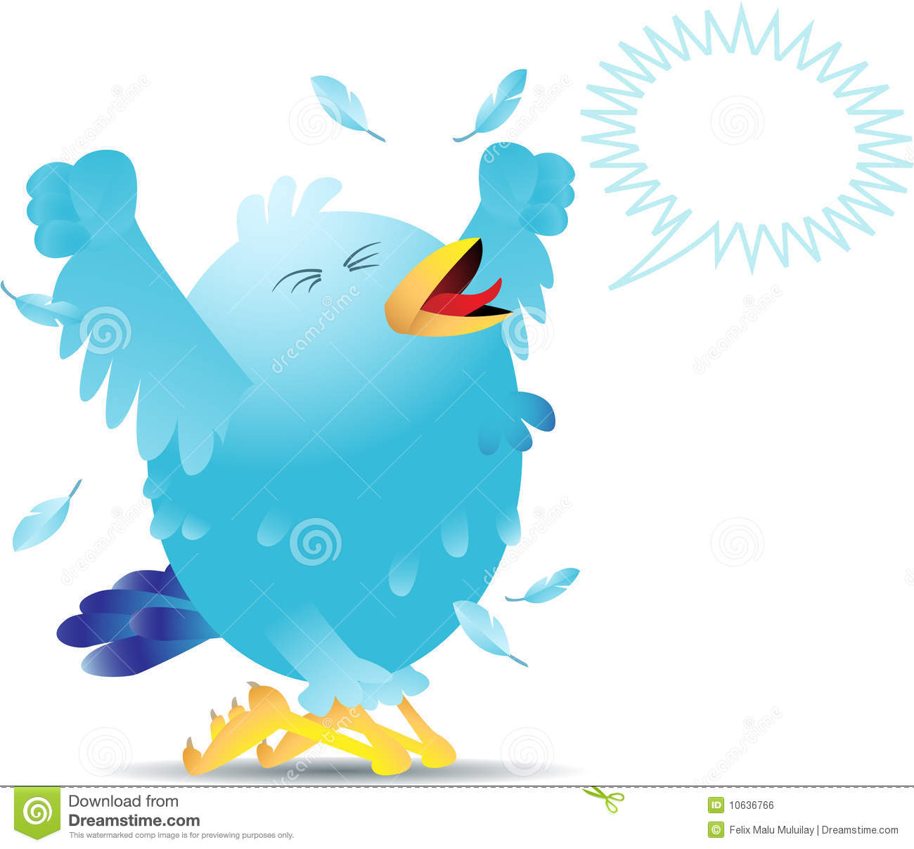 Blue Twitter Bird Yelling And Screaming Either In Pain Or Joy  Linear