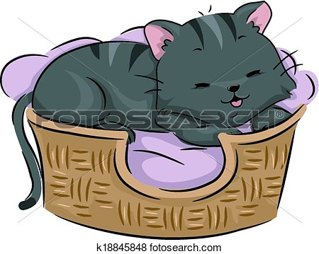 Clip Art   Cat Bed  Fotosearch   Search Clipart Illustration Posters