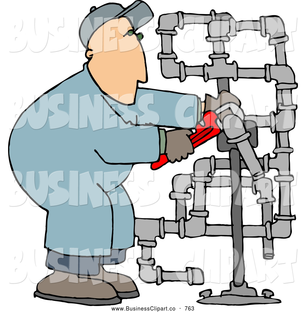 Clip Art Of A Man Working On Plumbing Pipes With A Wrench By Djart