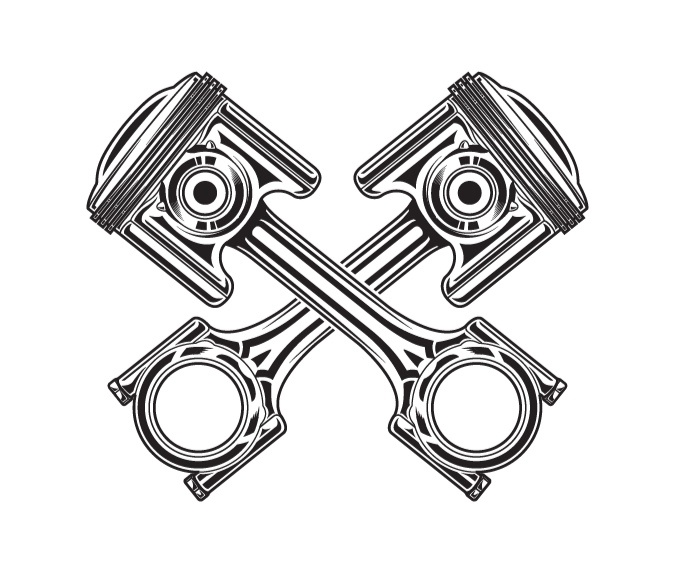 Line Art Vector Illustration Of A Motorcycle Piston    Illustrations