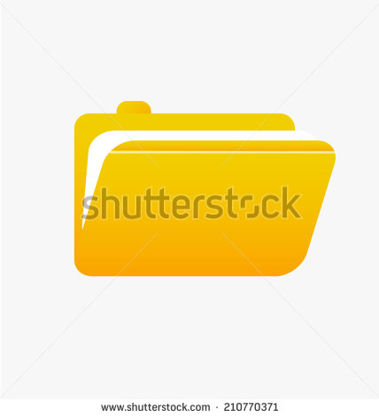 Office Yellow File Paper Folder Clipart Icon  Vector Illustration