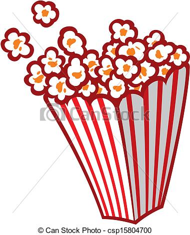 Vector Clipart Of Popcorn In A Striped Tub Csp15804700   Search Clip