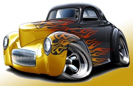 1941 Willys Hot Rod Muscle Car Toon Art Print New   Hot Rods Clip Art