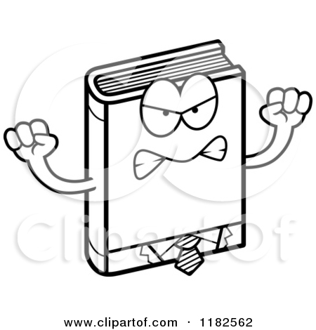 Black And White Mad Business Book Mascot   Royalty Free Vector Clipart
