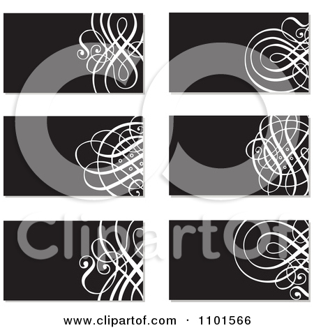 Clipart Black And White Ornate Business Cards With Swirls   Royalty