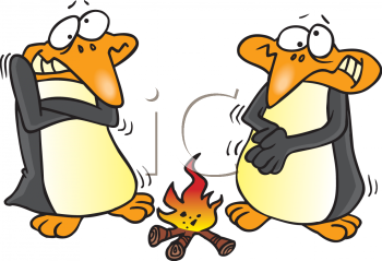 Clipart Net Cartoon Clipart Picture Of Penguins Warming Up By A