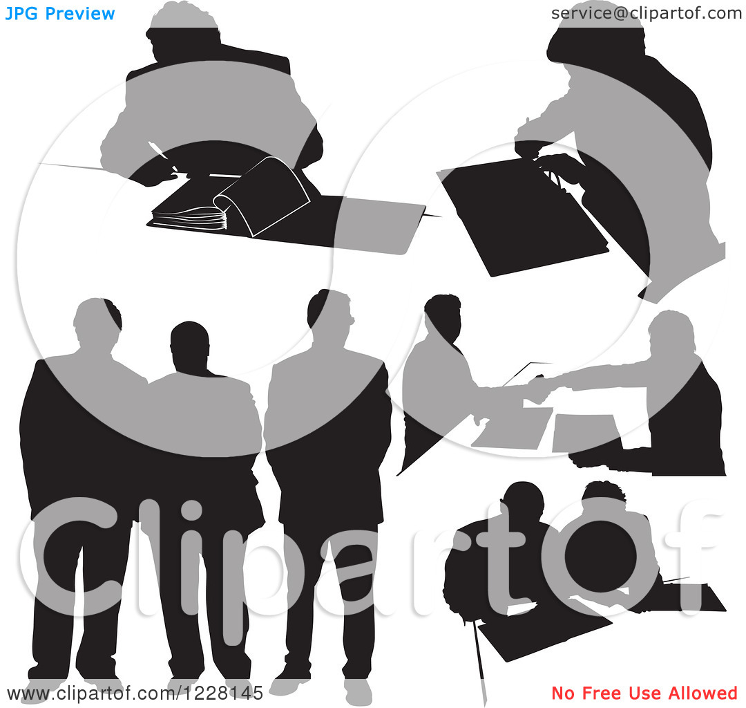 Clipart Of Black And White Silhouetted Business Men   Royalty Free