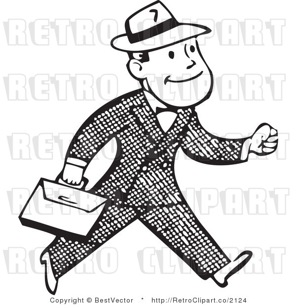 Free Black And White Retro Vector Clip Art Of A Walking Business Man