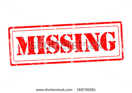 Missing Rubber Stamp Of Missing Warning Sign   Stock Photo
