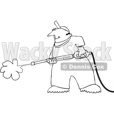 Of A Black And White Pressure Washing Man Outline   Djart  1054332