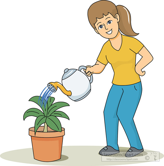 Plants   Woman Watering Plant 1   Classroom Clipart