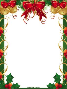 Ribbons Bells And Holly Christmas Border This Free Printable Christmas