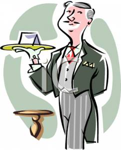 Servant Clipart Butler Wearing Tails Holding A Tray Royalty Free