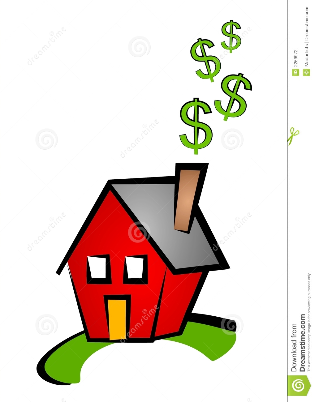 An Illustration Of A Little Red House With Dollar Signs Coming Out Of