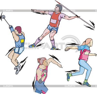 Athletics  Shot Put Discus Hammer And Javelin Throw  Set Of Color