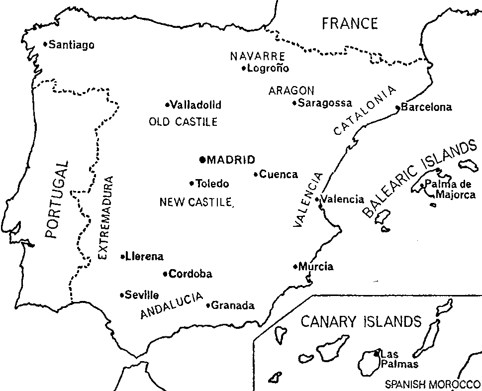 Black And White Map Of Spain   Clipart Best