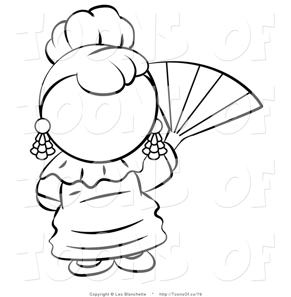 Black And White Spanish Woman Waving A Hand Fan Black And White