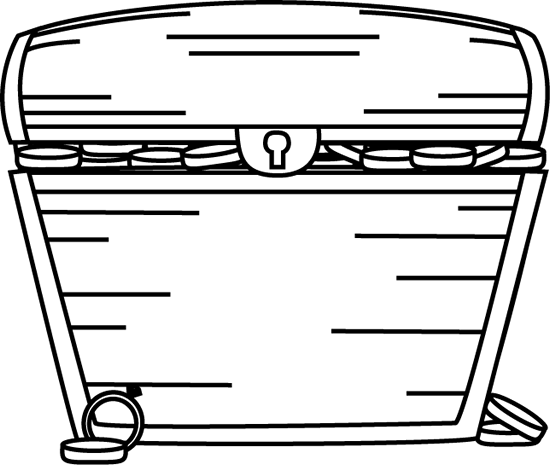 Black And White Treasure Chest Filled With Treasure Clip Art   Black
