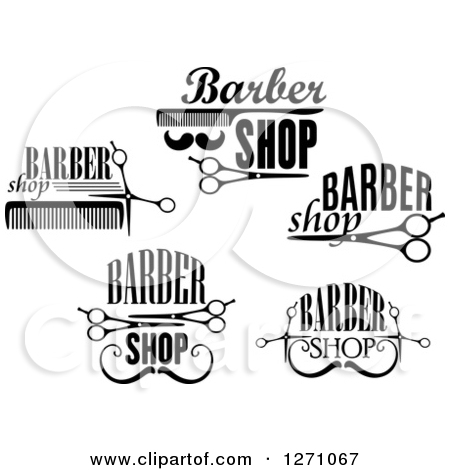 Clipart Of Black And White Barber Shop Designs 2   Royalty Free Vector