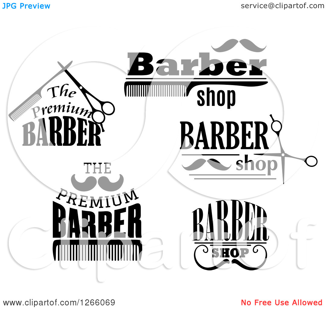 Clipart Of Black And White Barber Shop Designs   Royalty Free Vector