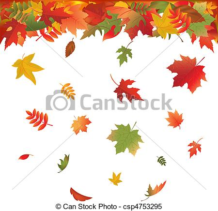 Clipart Vector Of Falling Leaves   Autumn Falling Leaves Isolated On