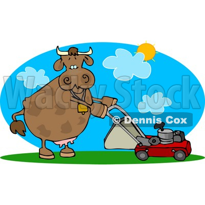 Cow Mowing Lawn On A Hot Summer Day Clipart   Djart  4531
