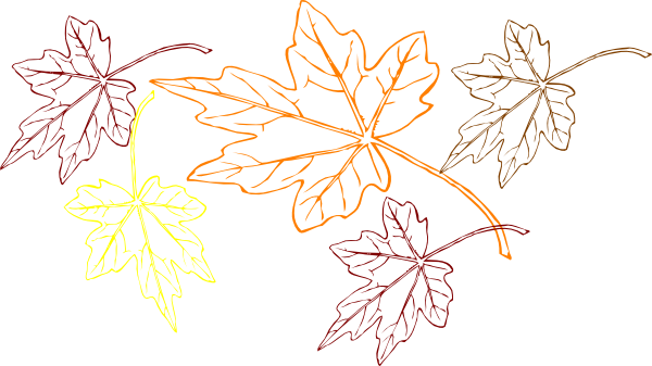Falling Leaves Multiple Colors Clip Art At Clker Com   Vector Clip Art