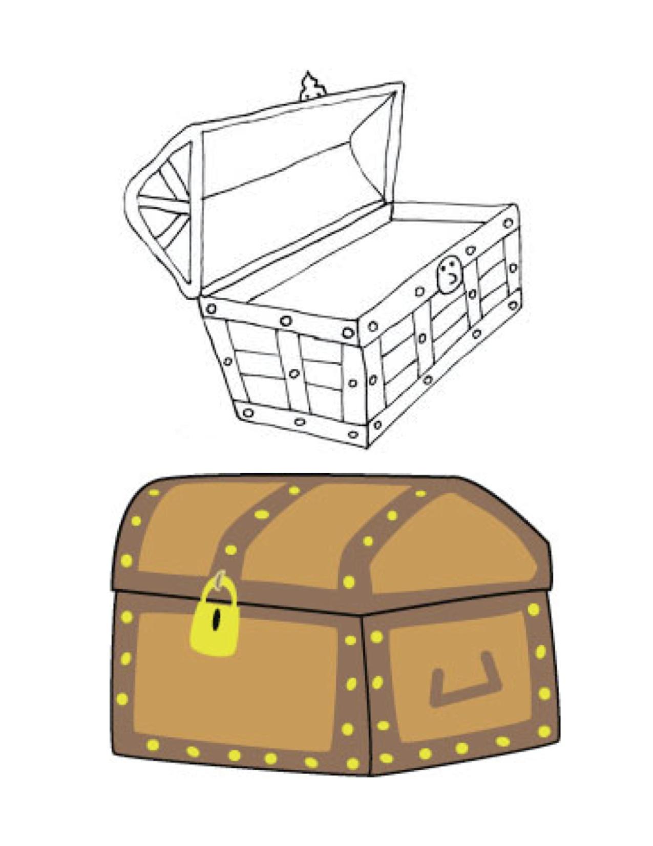 Gift Box Clipart Black And White Of Treasure Chest Clip Art