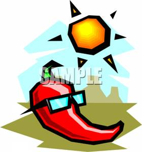 Hot Pepper Wearing Sunglasses On A Sunny Day   Royalty Free Clipart