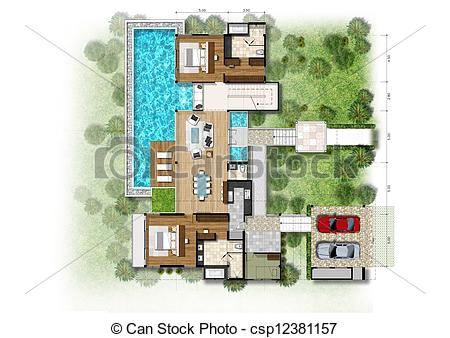 Of Planning House With With Green Area Csp12381157   Search Clipart