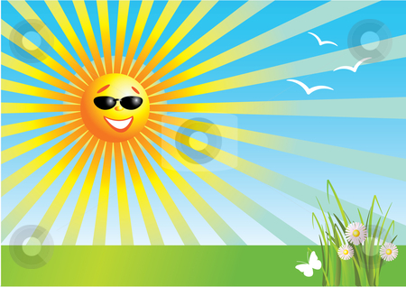 Sunny Day Stock Vector Clipart Vector Illustration Of A Smiling Sun