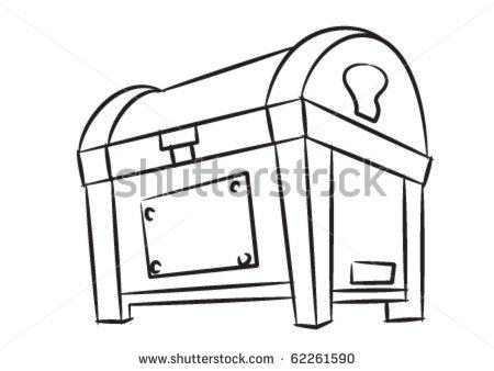 Treasure Box In Black And White Stock Vector 62261590   Shutterstock