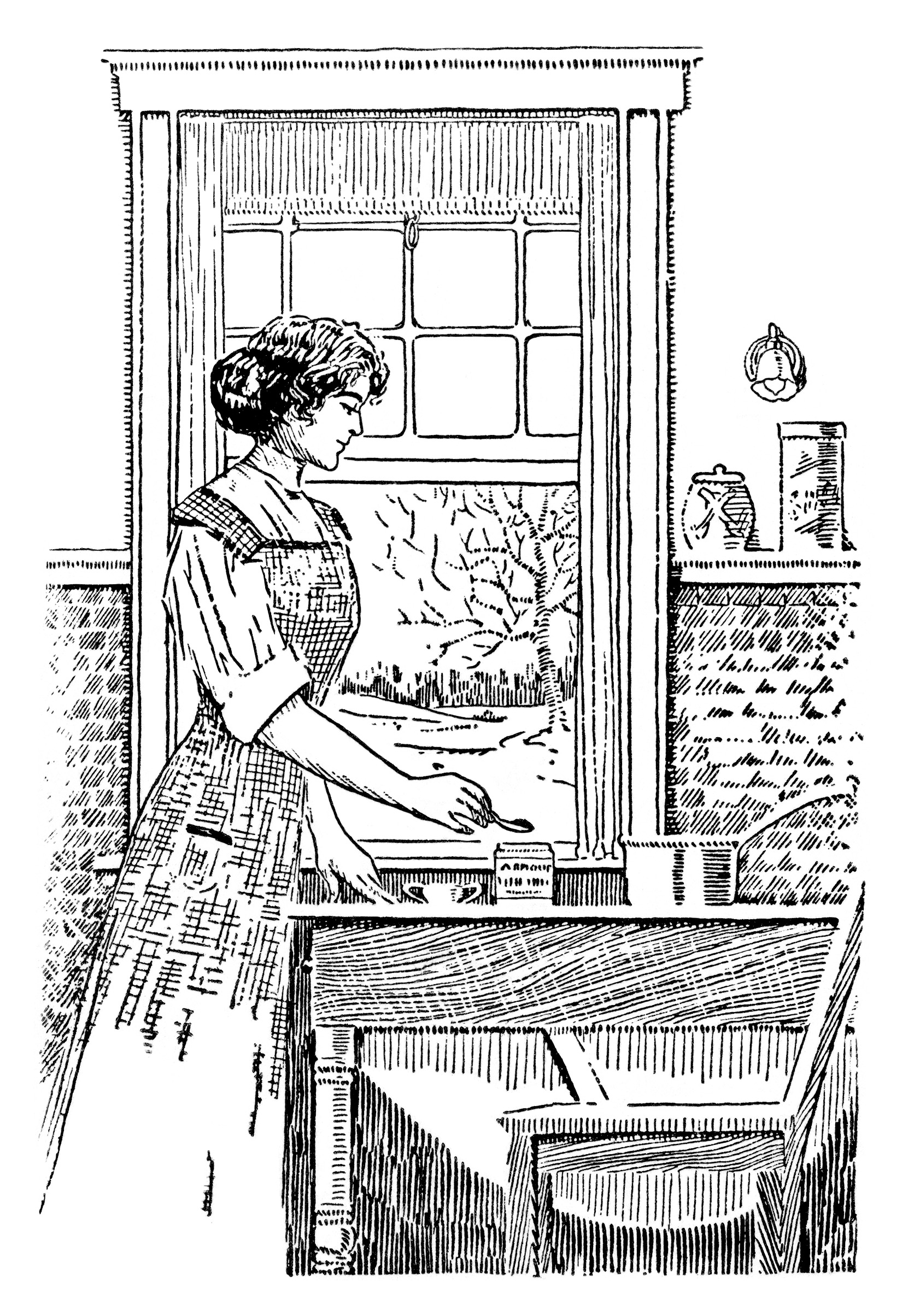 Vintage Kitchen Clipart Black And White Clipart Woman Cooking Image