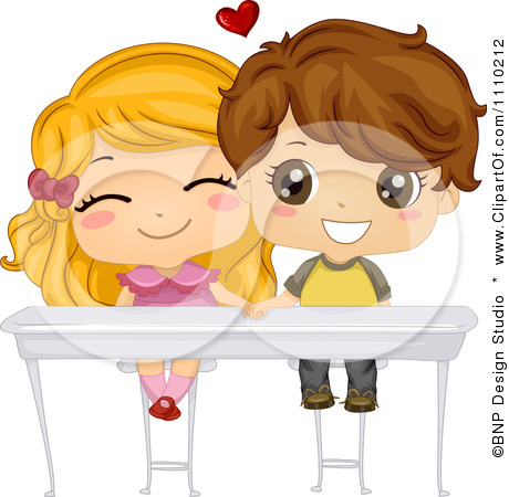 1110212 Clipart Cute School Boy And Girl Holding Hands Under Their