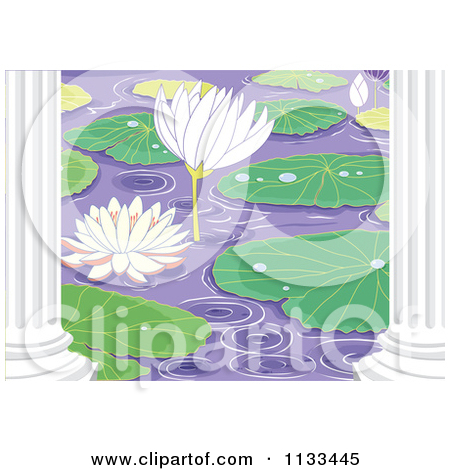 Cartoon Of A Water Lily Lotus Pond With Pads And Columns   Royalty