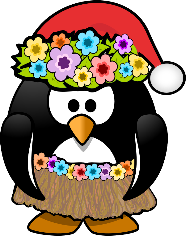 Christmas In July Penguin By Kamc   This Hula Ready Penguin Is Wearing