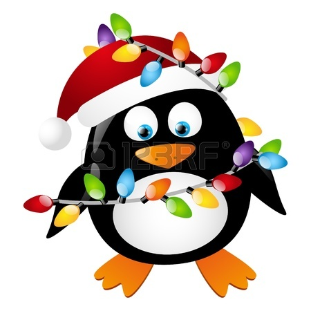 Christmas Penguin Clip Art 16686234 Penguin With Christmas Light Bulbs