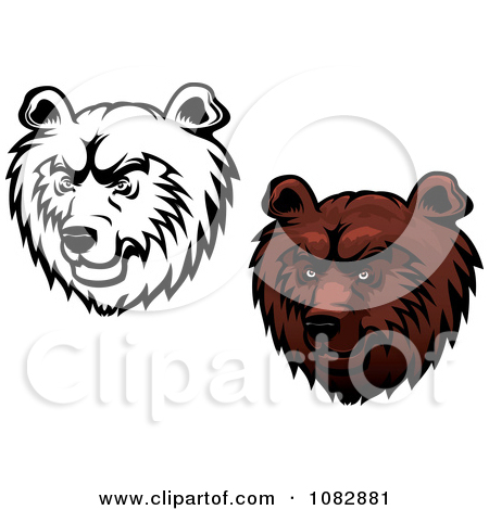 Clipart Black And White And Brown Kodiak Bear Faces   Royalty Free