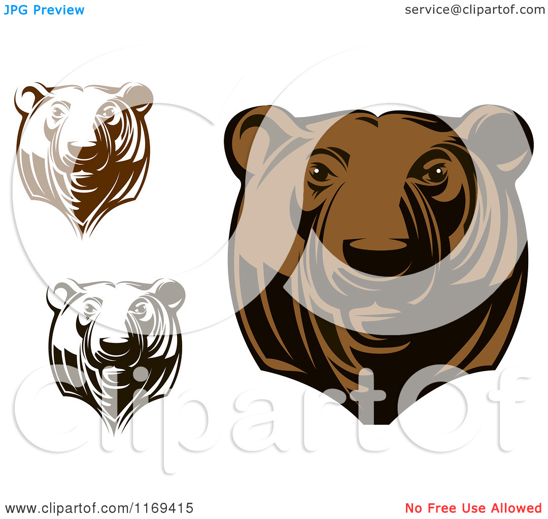 Clipart Of Black And White And Brown Grizzly Bear Heads   Royalty Free