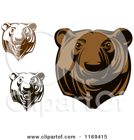 Black And White Brown Bear Clipart