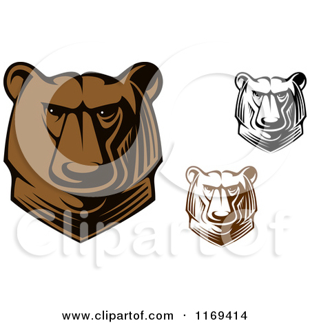 Clipart Of Brown And Black And White Kodiak Bear Heads   Royalty Free