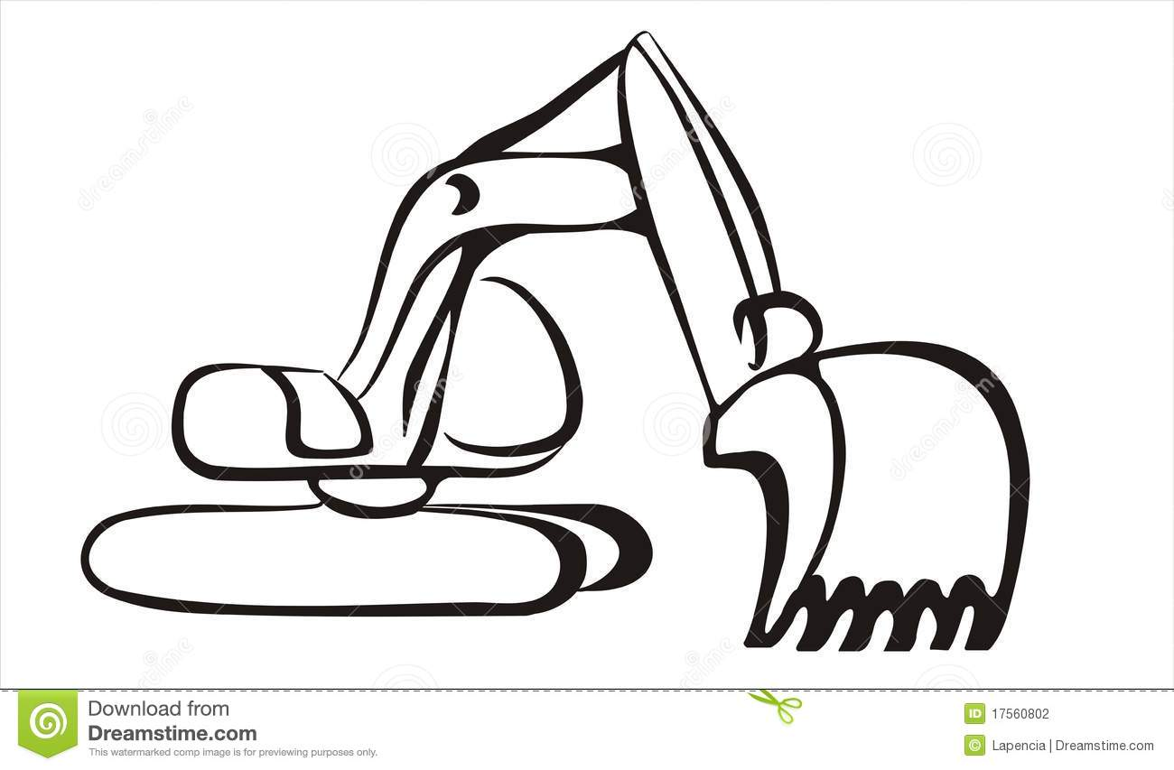 Excavator Icon In Simple Black Lines Stock Photography   Image