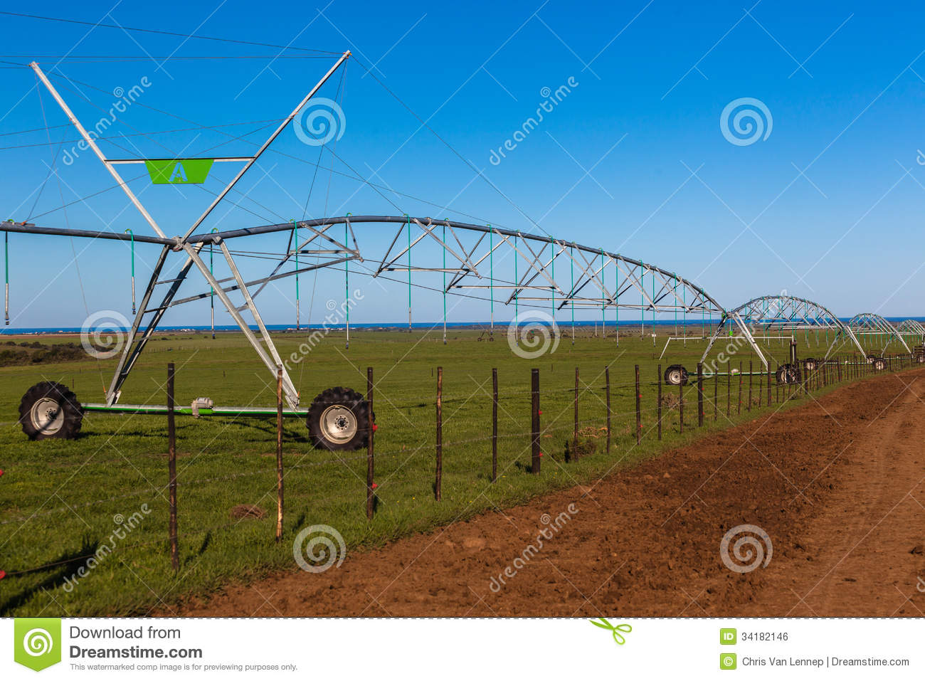 Farm Mobile Water Irrigation Sprinklers Royalty Free Stock Image