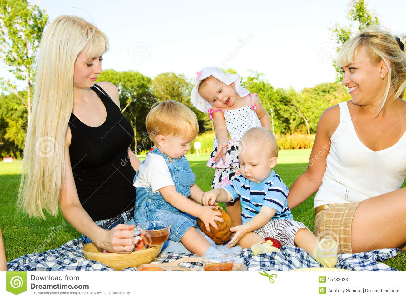 Lovely Toddler Kids Eating Cake Mother Looking At Them