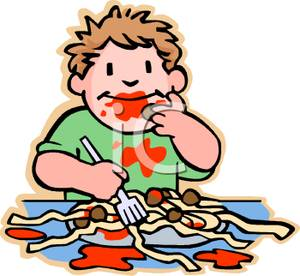Messy Toddler And Spaghetti Clipart Image