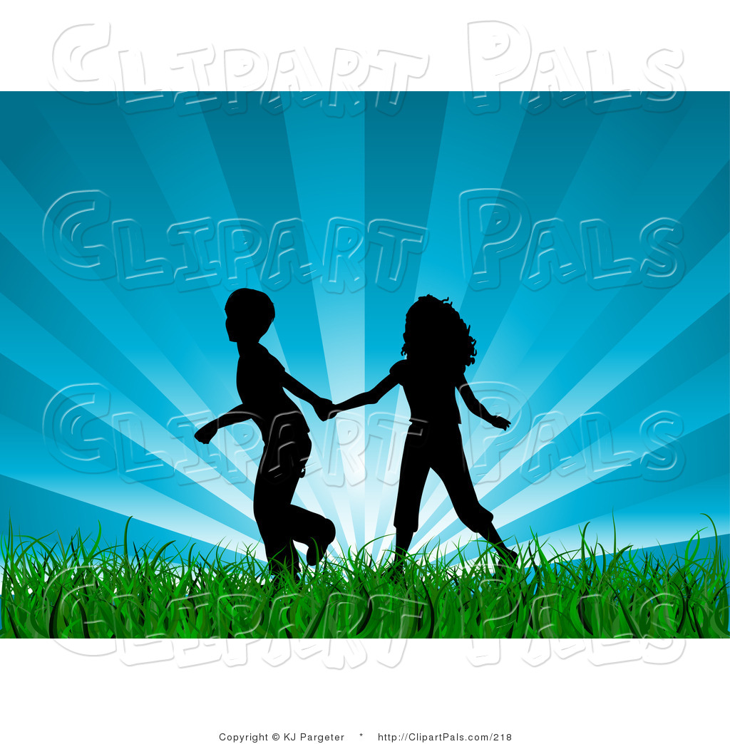 Pal Clipart Of A Black Silhouetted Boy And Girl Holding Hands And