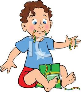 Toddler Boy Eating Gummy Worms   Clipart